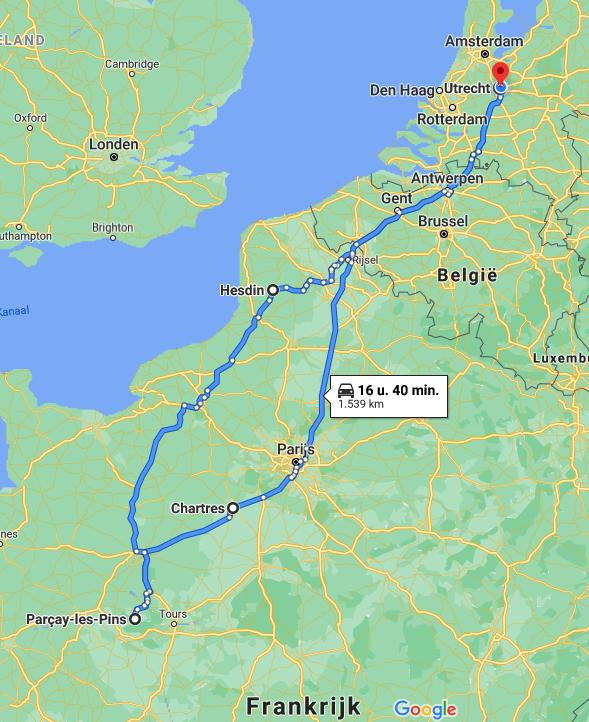 Frankrijk vakantie route